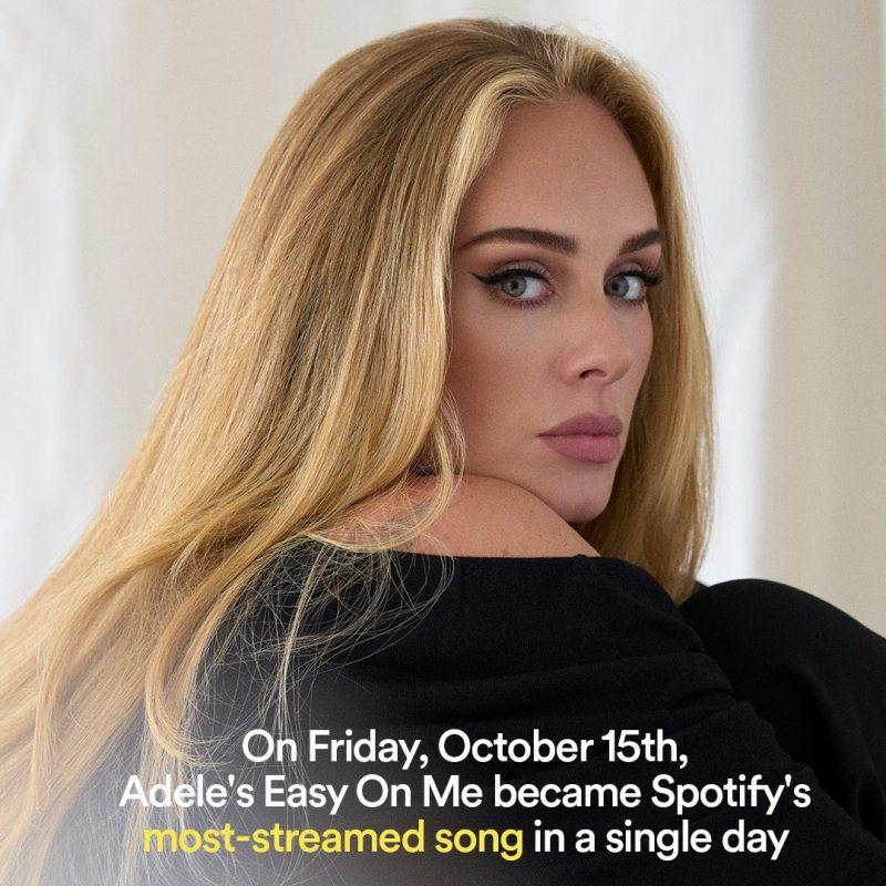 """""""Easy On Me"""": Adele bate recorde de audição diária da história do Spotify"""